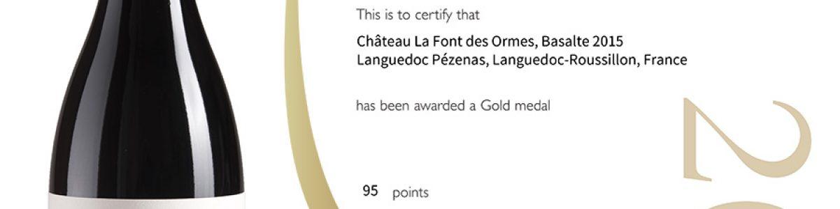 Decanter Wine Awards : 95 points et Médaille d'Or pour le Basalte 2015