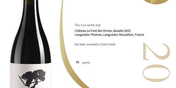 Decanter Wine Awards : 95 pts Gold Medal Basalte 2015