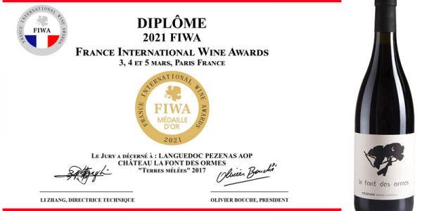 Médaille d'or pour Terres Mêlées 2017 AOP Languedoc Pézenas